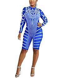Sequin Rhinestone Blue Jumpsuits - See Through Bodycon