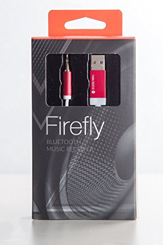 FIREFLY: World's Smallest Bluetooth Receiver w/3.5mm AUX for Wireless Clear Audio Quality Music Streaming - Car Pack (Red) by TUNAI (Image #2)