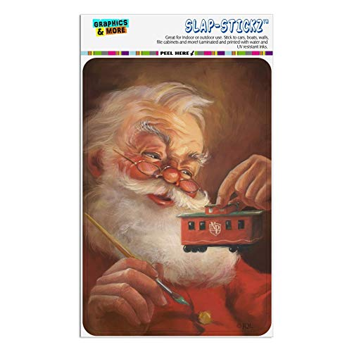 (GRAPHICS & MORE Christmas Holiday Santa Painting Toy Train Caboose Home Business Office Sign - Window Sticker - 4