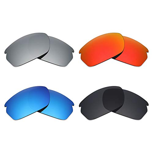 Mryok 4 Pair Polarized Replacement Lenses for Oakley Carbon Shift Sunglass - Stealth Black/Fire Red/Ice Blue/Silver Titanium