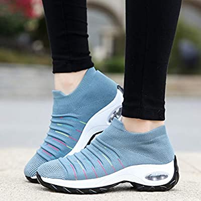 YiYLunneo Womens Soft Sock Walking Shoe Platform Mesh Casual Shoes Thick Bottom Rocking Shoe Student Working Sneakers