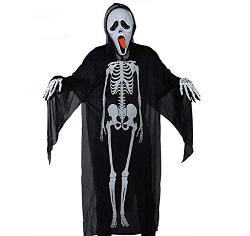 Et Ghost Costume (FREEDTIME Adult Halloween Skull Skeleton Ghost Clothes Halloween Costume Skeleton)