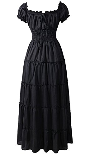 ReminisceBoutique Renaissance Dress Costume Pirate Peasant Wench Medieval Boho Chemise (Regular, Black) -
