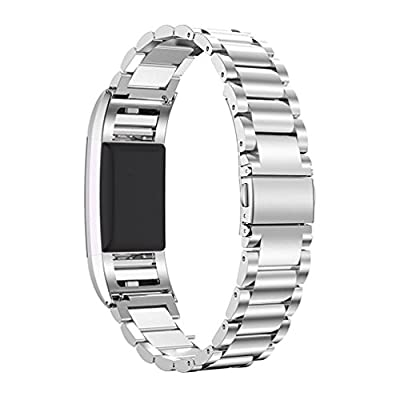 RedTaro Replacement Bands for Fitbit Charge 2, Charge 2 Metal Bands, Fitbit Stainless Steel Bands for Charge 2 Silver Gold Rose Black Gold Small Large