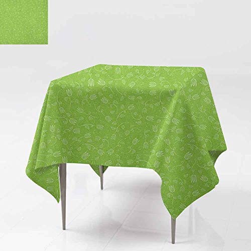 (AndyTours Custom Tablecloth,Green,Doodle Style Tulip Flowers with Swirled Twigs and Leaves Blossoming Nature,for Events Party Restaurant Dining Table Cover,60x60 Inch Lime Green White)