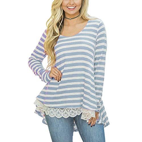Camicia A Maniche Lunghe Donna Primaverile Autunno Eleganti Moda Casual Blusa Vintage Manica Lunga Rotondo Collo Grazioso Stripe Giuntura Pizzo Irregolare Asimmetrica Tops Camicetta Blau