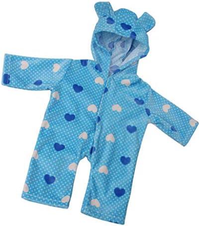 T TOOYFUL 子供衣装 18インチ人形適用 ハート柄 ジャンプスーツ フード付き パジャマ キュート 全3カラー - 青, 説明したように