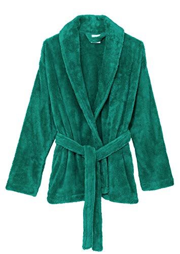 TowelSelections Women's Bed Jacket Fleece Cardigan Cuddly Robe Large/X-Large Green Lake