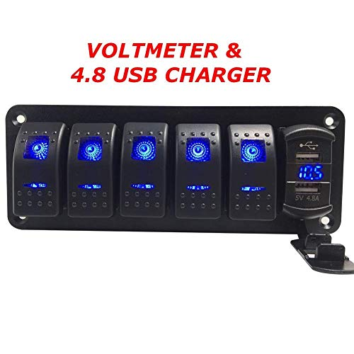 - Switchtec 2 3 5 7 Gang Rocker Switch Aluminum Panel with 4.8 Amps Dual USB Rocker Style Fast Charger with Voltmeter, Blue Backlit Led, Pre-Wired for Marine, Boat, Car, Truck