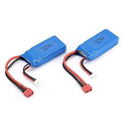 WOSOSYEYO 2pcs 7.4V 1500mAh Lipo Battery T Plug for Wltoys 12423 12428 RC Crawler Car