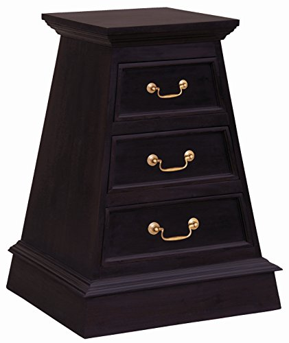 NES Furniture Fine Handcrafted Solid Mahogany Wood Cairo Nightstand , Chocolate, 28 Inches