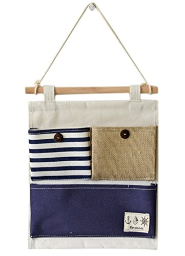 Over the Door Organizer Wall Closet Hanging Storage Bag Multilayer Linen Fabric Pouch Debris (Blue,9.8x12.5In)