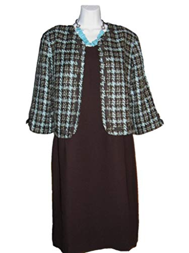 Coldwater Creek Occasions Church Evening 2PC bouclé Plaid Jacket Dress Business Party Size 14 L Necklace not Included