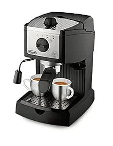 DeLonghi - Cafetera Espresso Ec155, 1L, 15 Bar, Negro-Metal, (Cafe Molido Y Pastillas), Capuccino System,