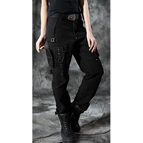 adf206a08cf chic Chouyatou Women s Stylish Military Multi-Pockets Wild Cargo Pants