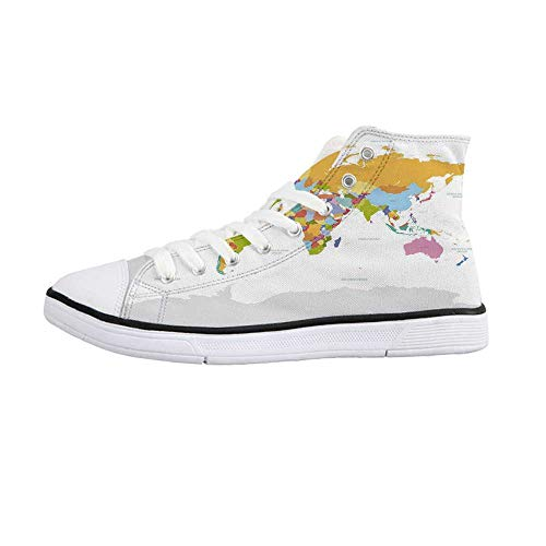 ALUONI Map Comfortable High Top Canvas Shoes,Highly Detailed Political Map of The World Global Positioning System Graphic Colorful Decorative for Women Girls,US ()