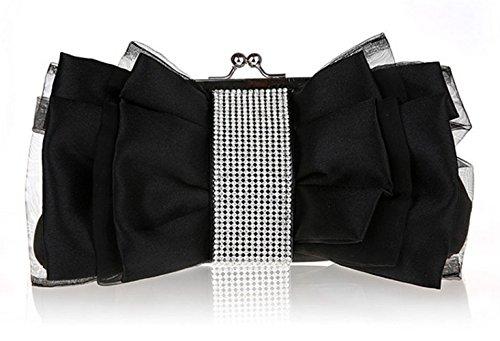 Black Sac Bandoulière D'Embrayage à De Sac Sac à WenL Bow Sac Messenger Soirée Mariée Mode Main 6WqnEwvZB