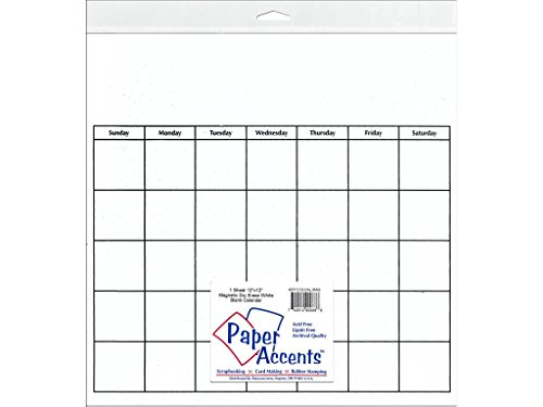 Accent Design Paper Accents Calendar 12x12 Mag DryEraseWht CalPg1212MagDryWht