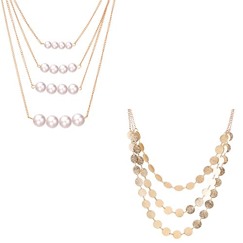 Paxuan Womens Multilayer Necklace Statement