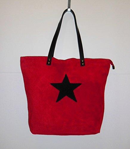 Damen Handtasche Tasche Schultertasche Umhängetasche Henkeltasche Beuteltasche - rot - Wildleder - Leder