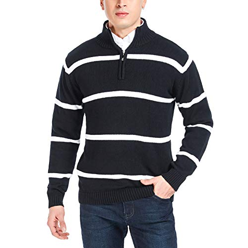 APRAW Men's Casual Striped Polo Sweaters Slim Fit Pullover with Mock Neck (Black, Medium) ()
