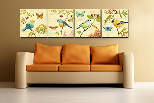 Natural art – Bird and flower Painting 4 pcs Wall Art Lanscape Painting Print on Canvas Wall Decoration Wrapped with Wooden Frame Ready to Hang,