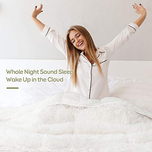 """Lofus Fuzzy Faux Fur Weighted Blanket 15lbs,Snuggly Luxury Shaggy Longfur Heavy Warm Elegant Cozy Plush Sherpa Microfiber Blanket, for Couch Bed Chair Photo Props – 60""""x 80"""" – Dual Sided White"""