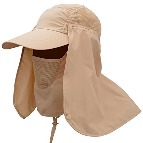 (SUEKQ Unisex Sun Hats, Wide Brim UV Protection Summer Outdoor Sun Hat Removable Neck Face Flap Cover Cap for Cycling, Fishing, Hiking, Garden, Hunting, Camping for Women Men (Khaki))