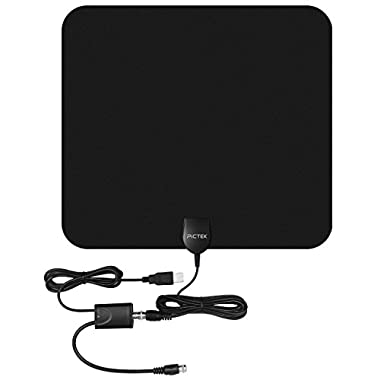 Pictek Indoor Digital HDTV Antenna with 50 Miles Signal Reception and 10-Feet Amplified Booster, Dark Black