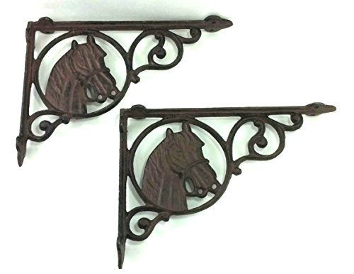 (Aunt Chris' Products - [Lot/Set of 2] - Horse Shelf Bracket - Heavy Cast Iron - Wall Mount - Indoor or Outdoor Use - Black Matte Finish - Old Western Primitive Design )