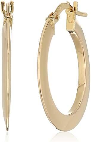 14k Yellow Gold 20mm Flat Knife Cut Click Top Hoop Earrings