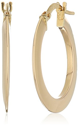 20 Click Type - 14k Yellow Gold 20mm Flat Knife Cut Click Top Hoop Earrings