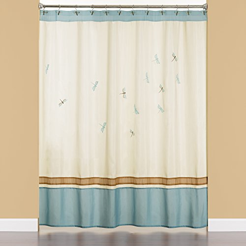 Creative Bath Products Dragonfly Flies Embroidered Fabric Shower Curtain