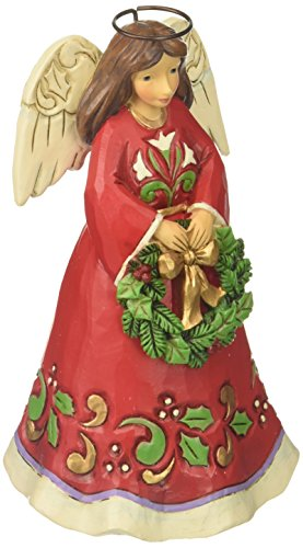 Jim Shore Heartwood Creek Pint Sized Angel with Wreath Stone Resin Figurine, 5