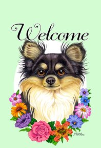 (Best of Breed Chihuahua Tri - Tomoyo Pitcher Welcome Flowers Garden Flag)