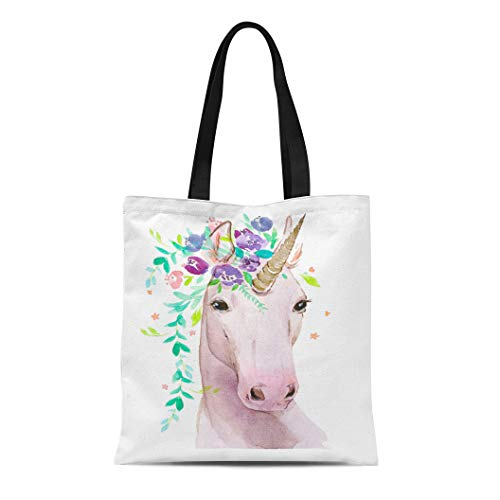 Semtomn Cotton Canvas Tote Bag Colorful Girl Unicorn Flowers Watercolor on Pink Animal Aquarelle Reusable Shoulder Grocery Shopping Bags Handbag Printed - Flower Girl Tote Bag Canvas