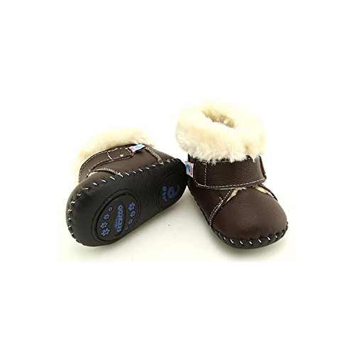 FREYCOO - Zapatos de bebe primeros pasos de cuero niños | Marrón