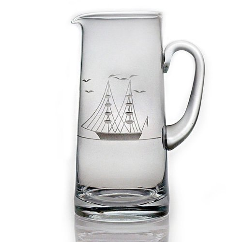 ipper Ship Sand Etched/Hand Cut Glass Pitcher, 60 ounces (Etched Cut Glass)