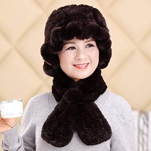 Marrón De Xiaogege Lana Sombrero Madre Bufanda Abuela Otoño Invierno Rojo Señoras Oscuro Color Piel HHw14O