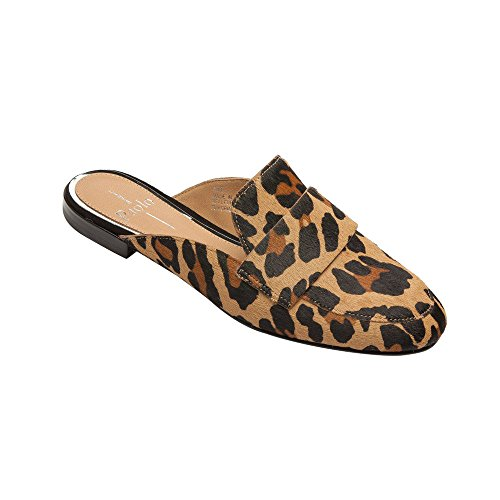 Linea Paolo Annie Women's Loafer - Open Back Slip-On Loafer Leopard Printed Calf Hair Leather 8.5M (Flats Suede Print)