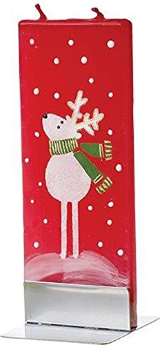 Flatyz Twin Wick Unscented Thin Flat Candle - Reindeer with - Reindeer Candle Stand