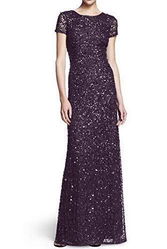 Adrianna Papell Women's Short-Sleeve All Over Sequin Gown, Amethyst/Gunmetal, 2 (Dress Amethyst Wedding)