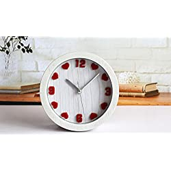 Apexshell (TM) Trendy Love Heart Shape Clock Face Minimalist Art Classic Small Round Slient Non-Ticking Travel Table Bedside Alarm Clock for Bedroom for Kids