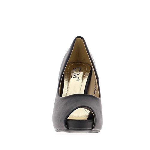 Escarpins ouverts noirs à talons de 10,5cm et plateforme de 2cm