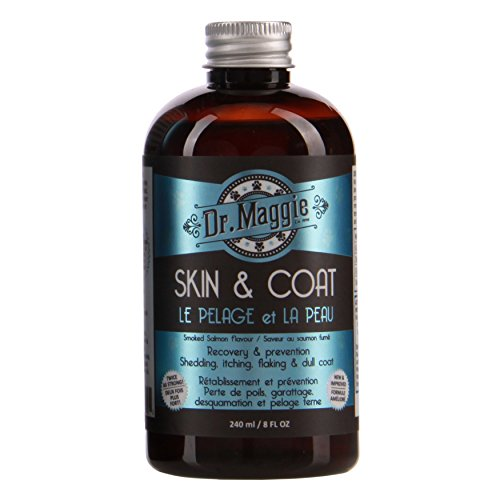 Dr. Maggie Skin and Coat | Omega 3 Fish Oil Supplement for Dogs and Cats | Dandruff | Hot Spots | Shedding | with Fish Oil, Flax Oil, Olive Oil, Vitamins A & E (240 ml)