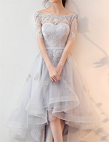 251457d0aa0 NOVIA Women s Off Shoulder High Low Lace Prom Dress Half Sleeves Evening  Gown 10 at Amazon Women s Clothing store
