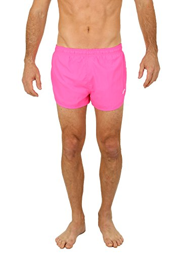 UZZI Men's Basic Running Shorts Swimwear Trunks 1830 Neon Pink 2XL ()