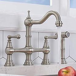 Farmhouse Kitchen VCCUCINE Traditional Antique Farmhouse Chrome Antique Centerset 4 Hole 2 Handle Classic Bridge Kitchen Faucet, Bridge… farmhouse sink faucets