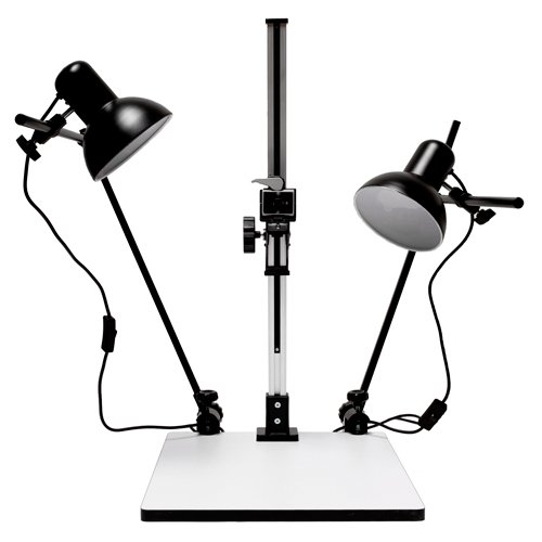 Albinar High Load 28 inch Copy Macro Stand with 15.75 inch x 19 inch Base, Quick Release Mount and Lights by Albinar
