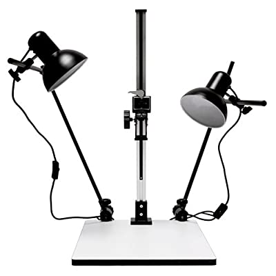 Image of Copying Equipment Albinar High Load 28 inch Copy Macro Stand with 15.75 inch x 19 inch Base, Quick Release Mount and Lights